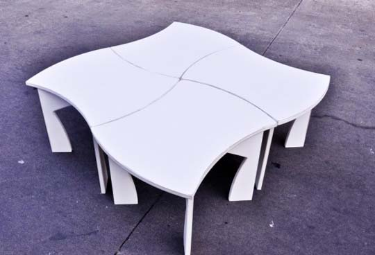 creative modular white table 5 Creative modular white table by Eric Billig